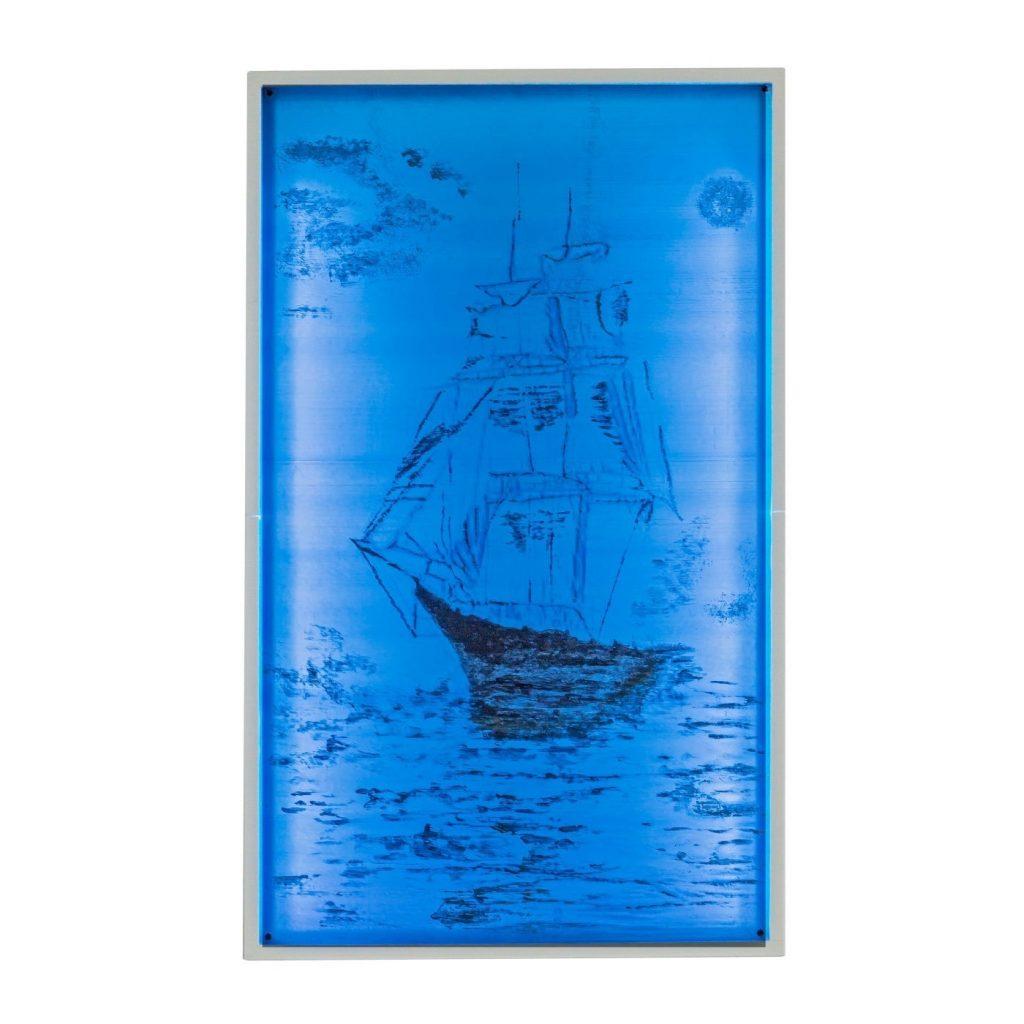 quadri 3d arredo casa Art 06 Quadro Veliero dipinto a mano retroilluminato 36x59 cm LG new