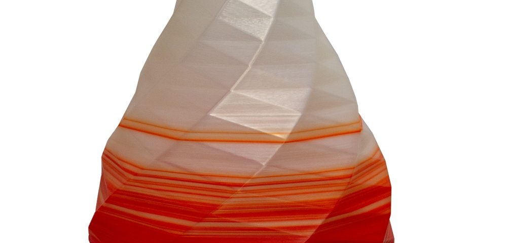 Vasi design made in Italy | Vaso grande poligoni rosso trasparente